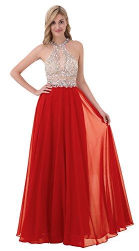 Tsygirls Damen Prinzessin Lange Strass Rückenfrei Ballkleider Tüll A-Linie Abendkleidr Cocktailkleider Größe 34 Rot