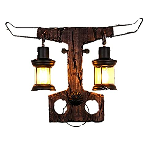BJVB verre journaux bouton mur lampe rétro Creative personnalité solide bois décoration Café Restaurant Bar boutique de vêtements net tête d'éclairage applications 10-15 mètres carrés (22 * 47 * 65 cm)