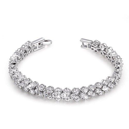 """【Ottimo Regalo】P&M """"Amore Puro"""" Bracciale donna-cristallo austriaco zirconia chiaro-colore oro bianco-gioielli alla moda"""