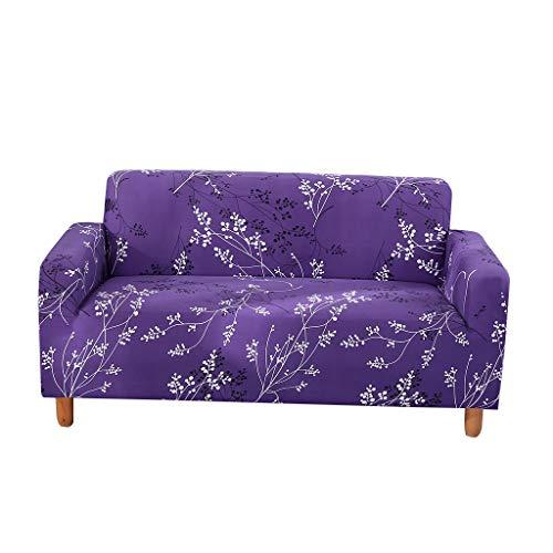 Fenteer Elastischen Stretch Hussen Sofabezüge Sofahusse Sofaüberwurf für 2 Sitzer Sofa Couch - Lila