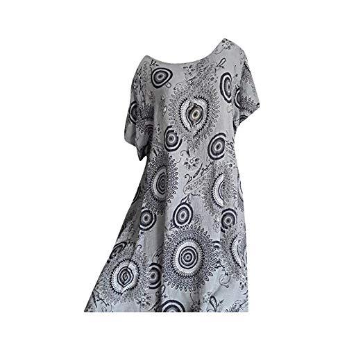 CCOOfhhc Damen Sommer Kurzarm Kleid Bohemian geometrische Muster Tunika Swing locker unregelmäßige T-Shirt Kleid - Mehrfarbig - Mittel 6 3/4 Zoll Sexy
