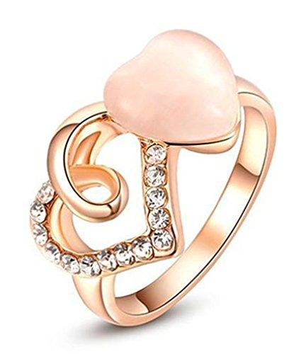 Beydodo Vergoldet Damen Versprechen Ringe Doppelt Rosa Herz Form CZ Größe 54 (17.2) Rose Gold