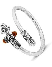 MEENAZ Rudraksha Shiv OM Trishul Damroo Designer Silver Plated Kada Kadas Bracelet Unisex Adjustable Free Size Cuff Bracelets for Men & Women Brothers Boys Bracelet-M225