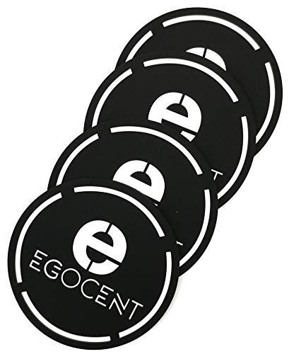EGOCENT 4 Glas-Untersetzer Premium-Design Silikon Getränke-Untersetzer Set Optimale Größe und für alle Oberflächen geeignet - auch für Heißgetränke - für Party, Garten oder Esszimmer-Tisch -