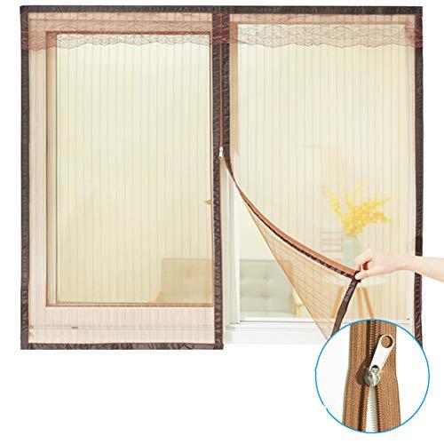 WYMNAME Reißverschluss Bildschirm mesh fenstervorhang, Moskitonetz für fenster Moskitonetz mesh screen protector Für fenster und türen-braun 120x130cm(47x51inch)