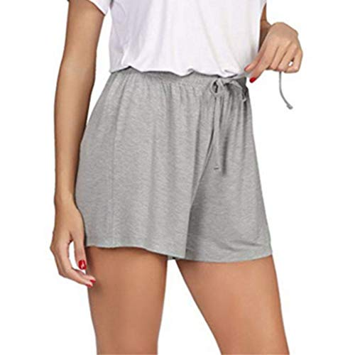 XZDCDJ Shorts Damen Hose kurzen Sommer elegant high Waist Plus Größe Volltonfarbe Hohe Taille Shorts Sport Shorts Yoga Elastische Taille Hosen Trainingshose (Grau,XXL) -