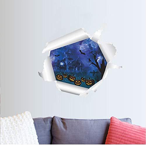TYKCRt Sticker Mural Vivid Citrouille Lanterne Chauve-Souris À Travers S Pour Les Chambres D'Enfants Halloween Décoration PVC Stickers Art DIY Murale Affiches 3D