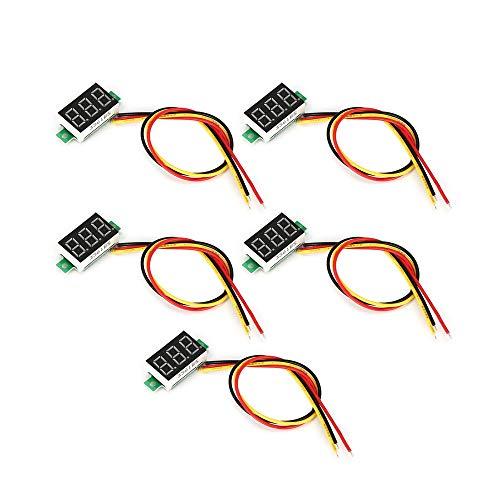 Yaoaomitn 5PCS 0-100V 0.36in 3 Fili LED Voltmetro Digitale Voltmetro Voltmetro Auto Volt Tester Nero