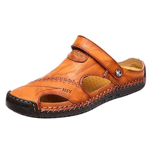 Makefortune-Damenschuhe Herren Damen Sandalen Sommer Outdoor Closed Toe Clogs Hausschuhe Strand Schuhe Leder Flip Flops Slip on oder Slingback 2 Trage Methode
