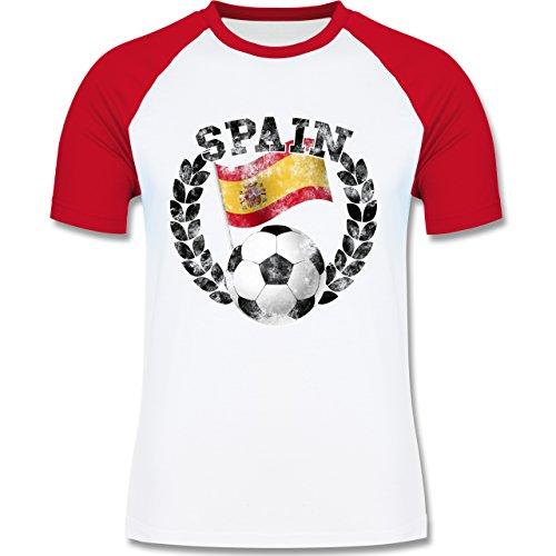 EM 2016 - Frankreich - Spain Flagge & Fußball Vintage - zweifarbiges Baseballshirt für Männer Weiß/Rot