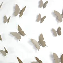 12 Mariposas adhesivos 3D gris pardos Decoración