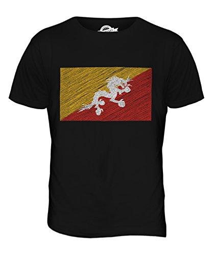 CandyMix Bhutan Bandiera Scarabocchio T-Shirt da Uomo Maglietta Nero