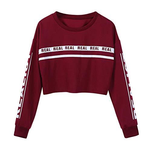 OYSOHE Damen Tops,Mode Brief Print Baumwolle Lose Sweatshirt Bluse