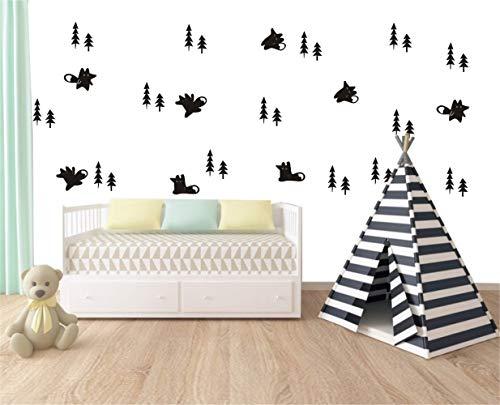 wandaufkleber 3d Wandtattoo Wohnzimmer Fox und Bäume Set Muster für Kinder junge Mädchen Raumdekoration Wohnzimmer Schlafzimmer Haus