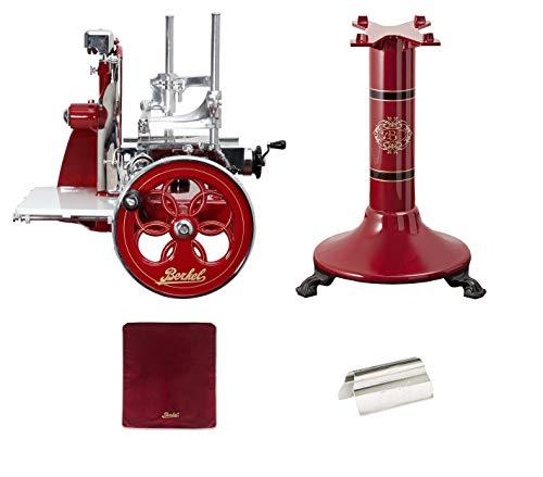 Berkel - Schwungrad P15 - Berkel Rot mit Golddekor - Geblühtes Schwungrad + Roter Slicer Deckel + Schinkenzange + Sockel