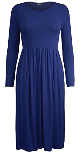 Comfiestyle - Robe - Patineuse - Manches Longues - Femme Bleu Marine