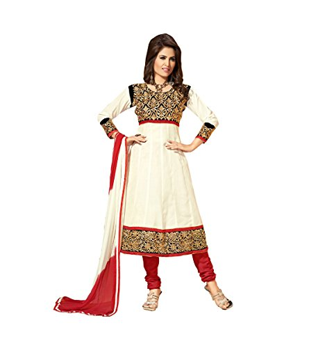 Blissta White Partywear unstitched Cotton anarkali dress material