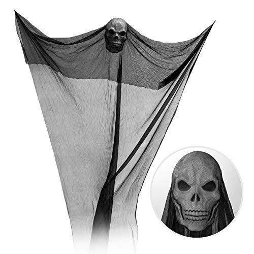 GWHOLE Red Colgante Fantasma de Halloween con Calavera Negra, Decoraciones para Fiesta de Halloween, Fiesta Temática de Terror - 3,2 Metros
