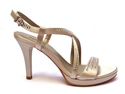 Nero Giardini 9040D sandali da donna in raso col. Sabbia tacco cm. 10 plateau cm. 2, num. 38