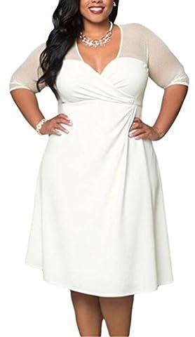 SunIfSnow Women Plus Size Half Sleeve Work Wear Waisted Spice Party Dress (white,XXL)