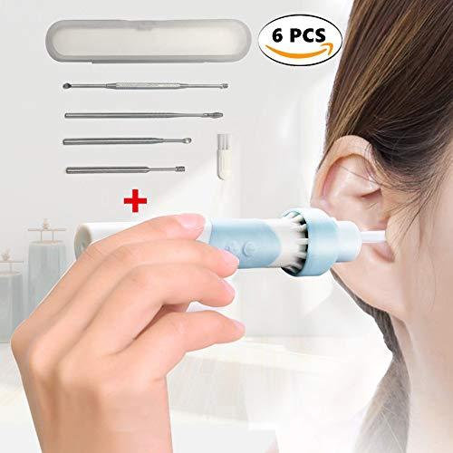 Sinoeem 6 Stück Ohrenschmalz Entferner Elektrisch, Ear Wax Cleaner, Ohrenreiniger LED Ohrwachsentferner Ohrwachs Entfernung Reiniger mit 5 Ohrenreiniger Edelstahl für Babys und Erwachsene