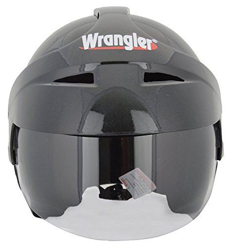 Wrangler Endeavor Modified Open Face Helmet with Aerodynamic Cap and Visor (Black, M)