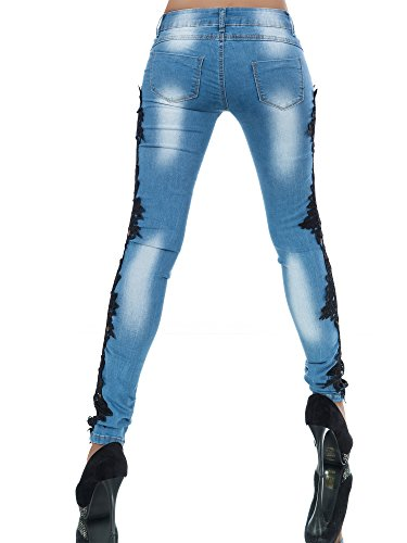 L457 Damen Jeans Hose Hüfthose Damenjeans Hüftjeans Röhrenjeans Röhrenhose Röhre Schwarz