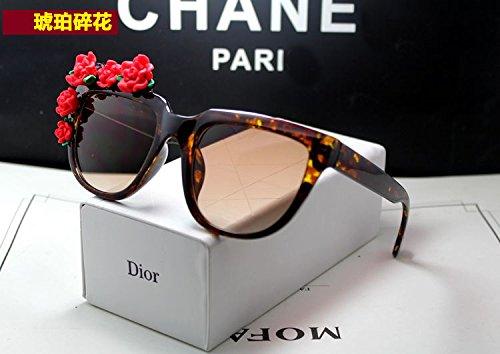 Sunyan Rosen Sonnenbrille Frau Tide Mode Spiegel groß Schwarz Lila Antrieb Gläser Paket, Amber Suihua