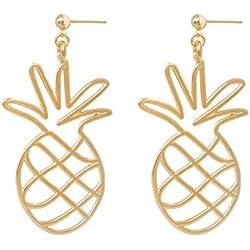 Malaika Raiss Pendientes Pendientes Mujer Oro Piña Pineapple–La calidad brillante 24quilates chapado en oro–e3217