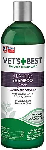Vet's Best Flea & Tick Shampoo for Cats | Premium Shampoo & Cat Flea Treat