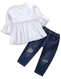 3071fc9d9149 Samgami Baby Baby Girls Grid Printed Lattice Tops Jeans Daily Toddler  Summer Clothing Set