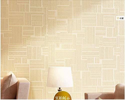Tapete Beige 0,53 x 10m, Warme Hoteldekoration Tapete Geometrische Figur Vlies Schlafzimmer Wohnzimmer Restaurant @ Gelb