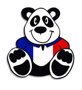 French - France Flag Panda Bear Voiture Autocollant / Car Sticker - 12cm x 12cm