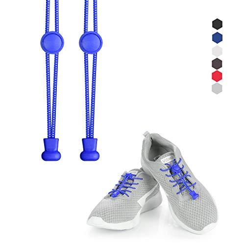 Kateluo lacci per scarpe elastici, lunghi sia per adulti e bambini,funzionali lacci elastici per marathon e triathlon atleti, anziani (blu)