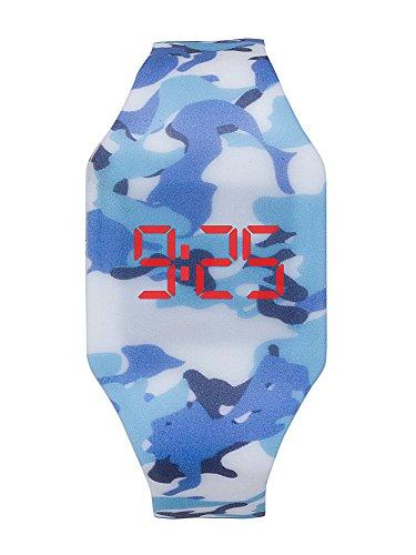 Reloj LED Digital niño Chico, Infantil y Joven, de Pulsera, Correa de Suave Silicona, Trendy Regalo, Camuflage Kiddus KI10215