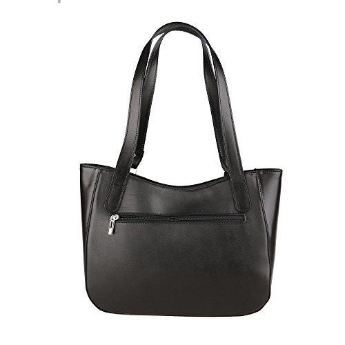 Chicca Borse Shoulder Bag Borsa da Donna a Spalla in Vera Pelle Made in Italy 34x23x10 Cm Nero