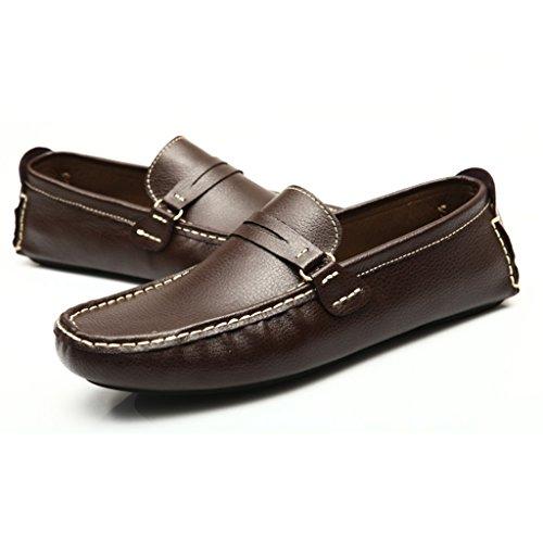Men's Minitoo Stripe Chaussons mocassins en cuir véritable pour un confort de conduite Loafers Chaussures à enfiler Loafers plats Marron - marron