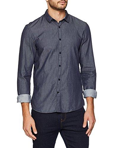 TOM TAILOR Denim Freizeithemd Herren Langarm Freizeit Hemd, Blau (Night Sky Blue 6576), Medium
