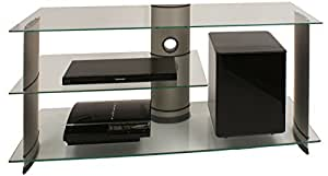 VCM 14200 Meuble TV Subuso pour Subwoofer Aluminium/Verre Noir/Clair