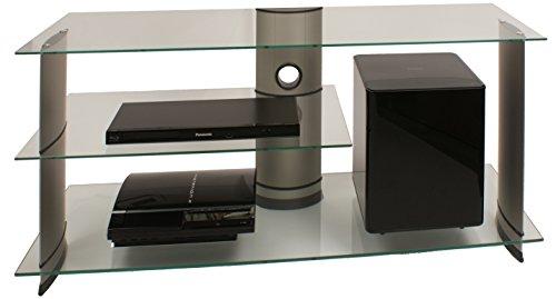 """VCM TV Rack Lowboard Konsole Fernsehtisch LCD LED Möbel Bank Glastisch Tisch Schrank Aluminium Glas Silber """"Subuso"""""""
