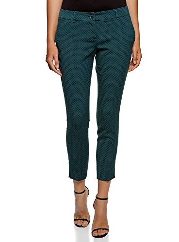 oodji Collection Mujer Pantalones Recortados con Pinzas, Verde, ES 42 / L