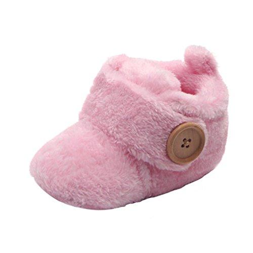 Amcool Kleinkind Prewalker Babyschuhe runde Zehe flache Schuhe (Rosa, 13 CM)