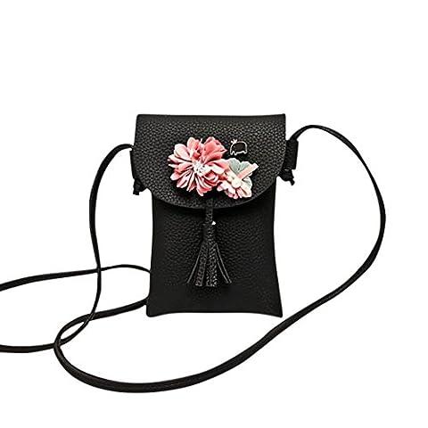 TPulling Frauen-Neue Art- Und Weisefeste Stilvoll Raffiniert Applique Floral Mini Handtasche Handy Tasche (Schwarz)