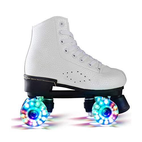 Nicekko Classicroller Roller Skates Rollschuhe Artistic Erwachsene Verstellbare Rollschuhe Zweireihige Skates Quad Skate,Weiß,36