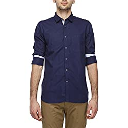 Allen Solly Mens Solid Slim Fit Casual Shirt (AMSF318G00149240_Blue)