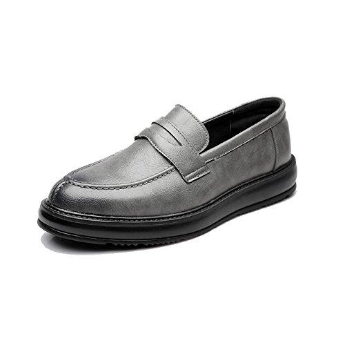 Hongjun-shoes scarpe uomo 2018, scarpe da lavoro formali da uomo classic slip-on mocassini in pelle pu casual outsole oxford (color : grigio, dimensione : 44 eu)