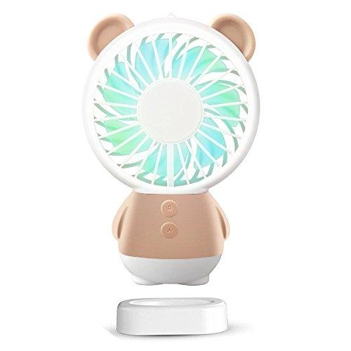 SUDOTACK Mini USB Fan, tragbare wiederaufladbare Handheld-Fan, Halskette und Tischventilator mit 2 Multi-Color-LED-Licht, einstellbare Geschwindigkeiten, Standfuß (Braun) (Wiederaufladbare Fan)