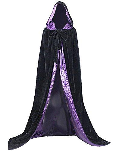 Dressvip schwarz mittelalter Umhang mit Kapuze für Herren Damen Kind Kundengröße (M, schwarz-lila) (Lila Dress Up Set)