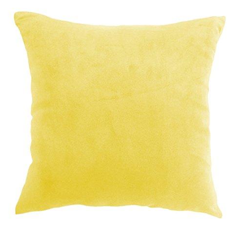 ALDOMO Daim Housse de Coussin Housse de Coussin avec Fermeture éclair en 2 Tailles et 6 Couleurs, 100% Polyester, Jaune/Orange, 40 x 40 cm