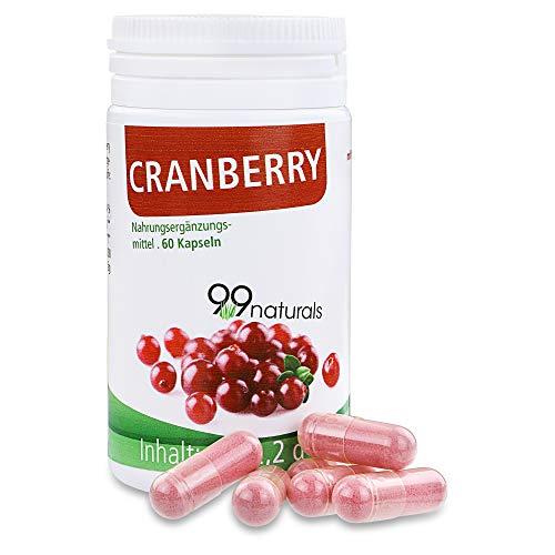 99naturals Cranberry-Kapseln I Pro Kapsel: 314 mg Cranberry Extrakt, 185 mg Cranberry Saft Pulver und 80 mg Vitamin C I 60 Stück Kapseln Cranberry hochdosiert I Nahrungsergänzung aus Deutschland